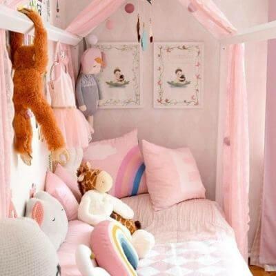 Svanemærket husseng fra Hoppekids - inspiration til pigeværelse