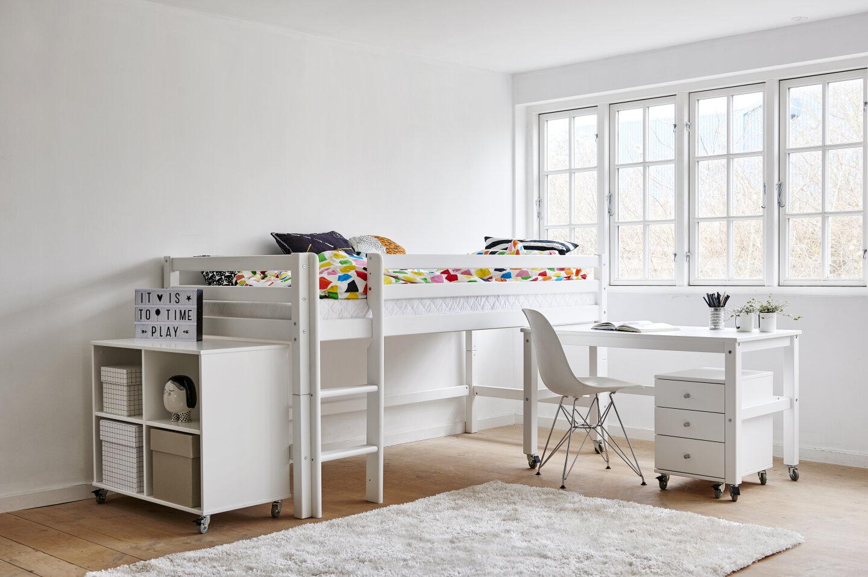 halvhøj seng med skrivebord