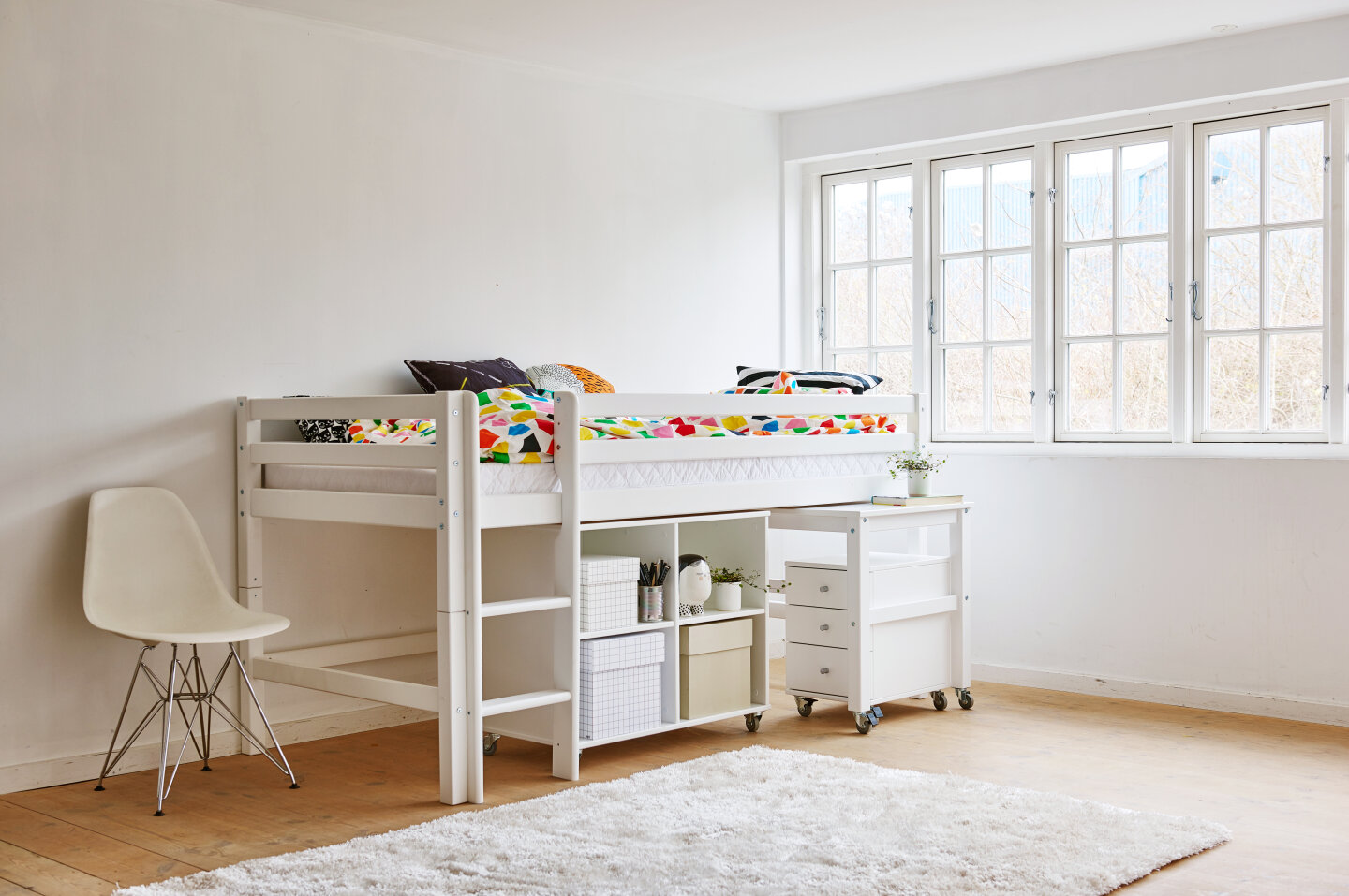 half-high bed with desk