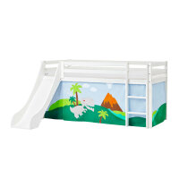 Hoppekids BASIC Halbhochbett (nicht teilbar) mit Rutsche und Dinosaur Vorhang