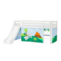 Hoppekids BASIC Halfhigh Bed with Slide and Dinosaur Curtain