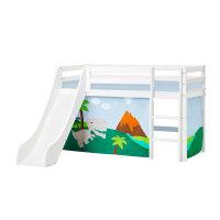 Hoppekids BASIC Halbhochbett mit Rutsche und Dinosaur Vorhang