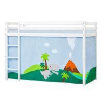 Hoppekids BASIC Mittelhochbett mit Dinosaur Vorhang