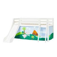 Hoppekids PREMIUM Halfhigh Bed with Slide and Dinosaur...