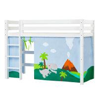 Hoppekids PREMIUM Mittelhochbett mit Dinosaur Vorhang