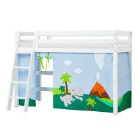 Hoppekids PREMIUM Midhigh Bed with Dinosaur Curtain