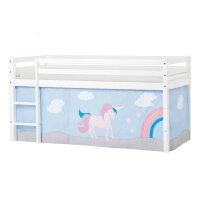 Hoppekids BASIC Halbhochbett mit Unicorn Vorhang