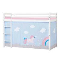 Hoppekids BASIC Mittelhochbett mit Unicorn Vorhang