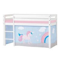 Hoppekids BASIC Halbhochbett (nicht teilbar) mit Unicorn Vorhang
