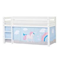 Hoppekids PREMIUM Halfhigh Bed with Unicorn Curtain