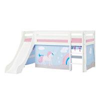 Hoppekids PREMIUM Halbhochbett mit Rutsche und Unicorn Vorhang