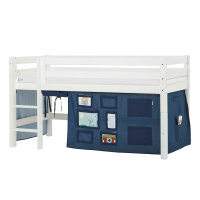 Hoppekids PREMIUM Halfhigh Bed with Creator Curtain in Orion Blue