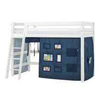 Hoppekids PREMIUM Mittelhochbett mit Creator Vorhang in Orion Blue
