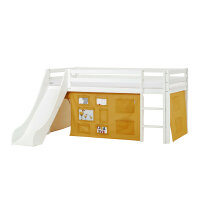 Hoppekids BASIC Halfhigh Bed (Non-Dividable) with Slide and Creator Curtain in Autumn Yellow
