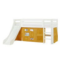 Hoppekids PREMIUM Halfhigh Bed with Slide and Creator Curtain in Autumn Yellow