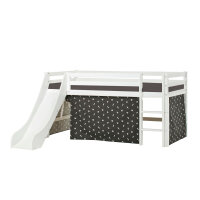 Hoppekids BASIC Halfhigh Bed with Slide and Pets Curtain in Granite Grey