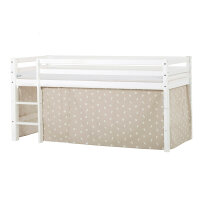 Hoppekids BASIC Halfhigh Bed with Pets Curtain in Silver Cloud