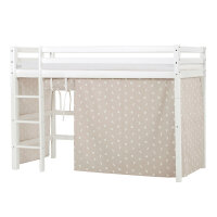 Hoppekids BASIC Midhigh Bed with Pets Curtain in Silver Cloud