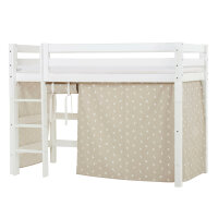 Hoppekids PREMIUM Midhigh Bed with Pets Curtain in Silver Cloud