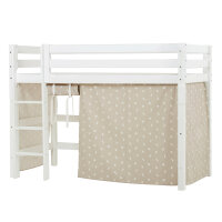 Hoppekids PREMIUM Midhigh Bed with Pets Curtain in Silver...