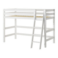 Hoppekids PREMIUM Midhigh Bed with slant Ladder, white