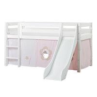 Hoppekids PREMIUM Half high bed with slide and Fairytale Flower curtain