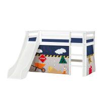 Hoppekids BASIC Halbhochbett mit Rutsche und Construction Vorhang