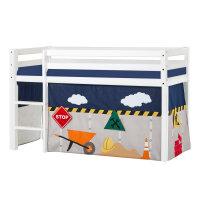 Hoppekids BASIC Halbhochbett (nicht teilbar) mit Construction Vorhang